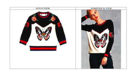 Gucci's butterfly pattern (left) on its sweater versus Forever 21's butterfly design (right).