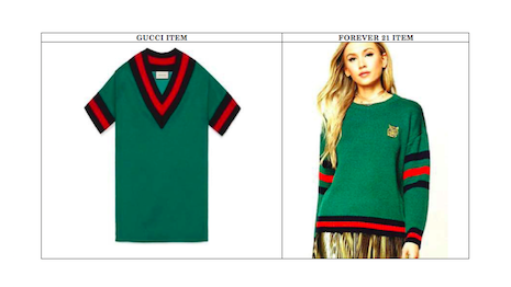 Gucci's sweater (left) contrasted with Forever 21's sweater (right).
