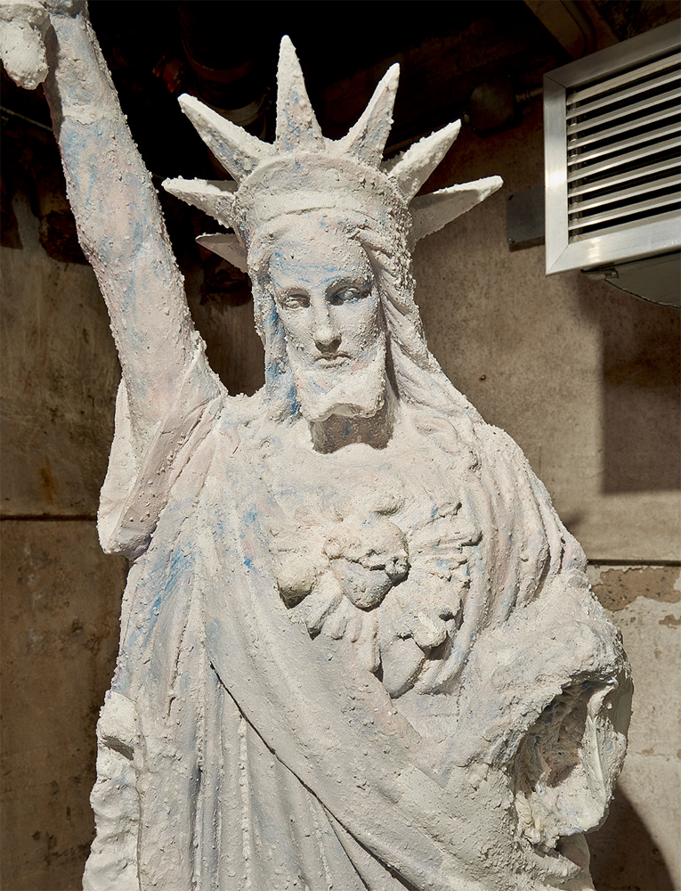 """""""The Untitled: Christ/Liberty""""  Cast foam, ceramic, reinforcement bar and raw sea salt coating, 6'3X 2.5 ft  """"The Untitled: 1787 (Base)""""  Carved white oak dated to the year 1787, 2ft x 2.5ft  2016"""