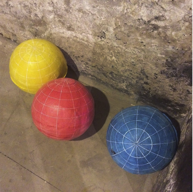 """""""The Untitled: Globes (Blue, Red, Yellow)""""   Cast foam and whiteout correction fluid   2016,"""