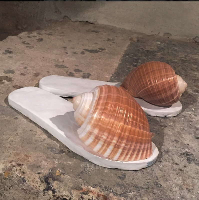 """The Untitled: Sandals"" Epoxy clay, sandal (interior), sea shell   2016"