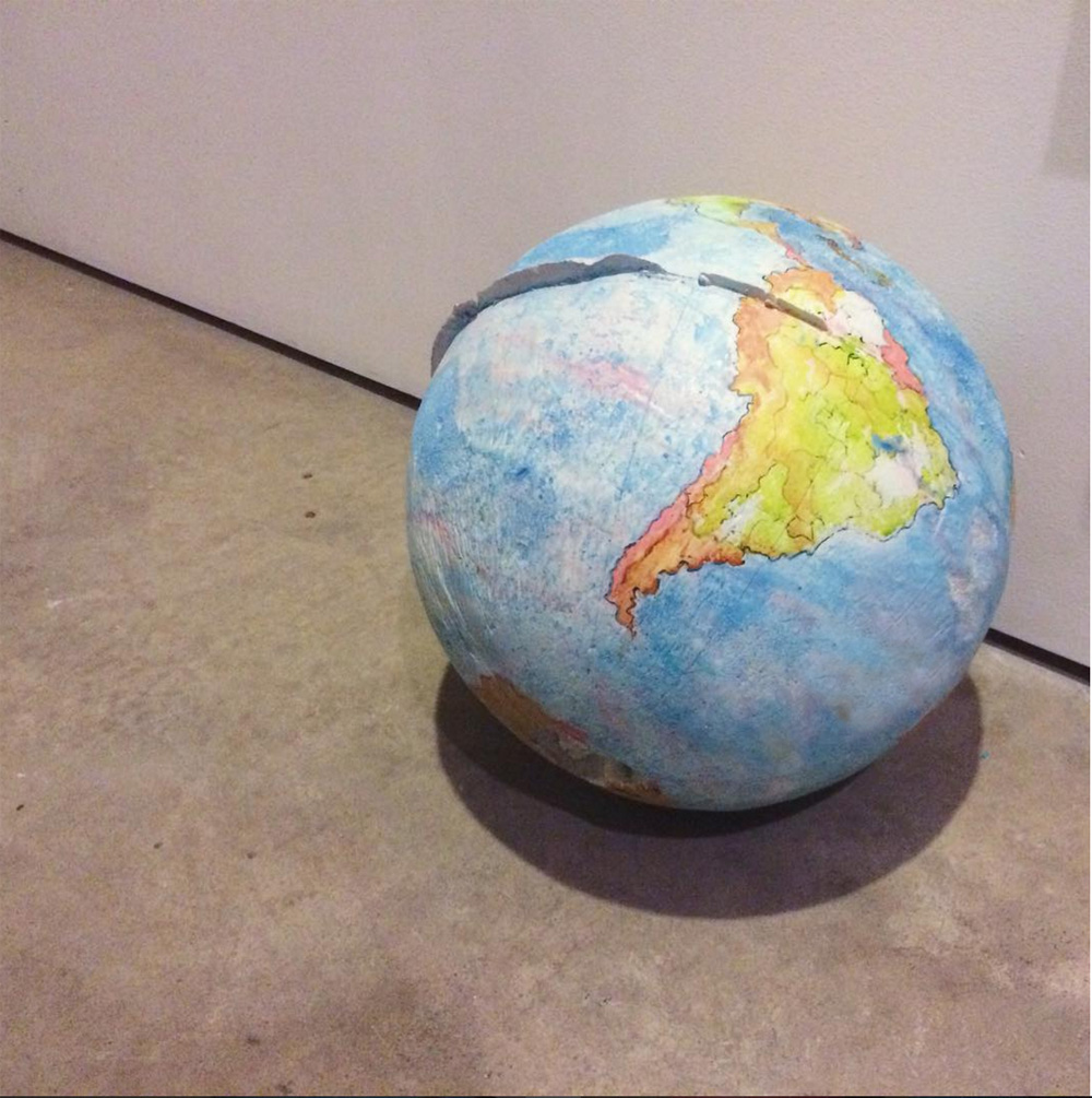 """The Untitled: Globe"" Cast foam and watercolor 2016"