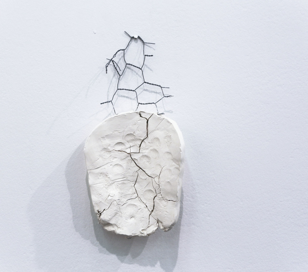 Finger Painting 2014 Unfired porcelain and steel armature Description: A porcelain sculpture with a surface created by impressions of the artist's finger. It serves as an identification record/tablet as well as a painting.