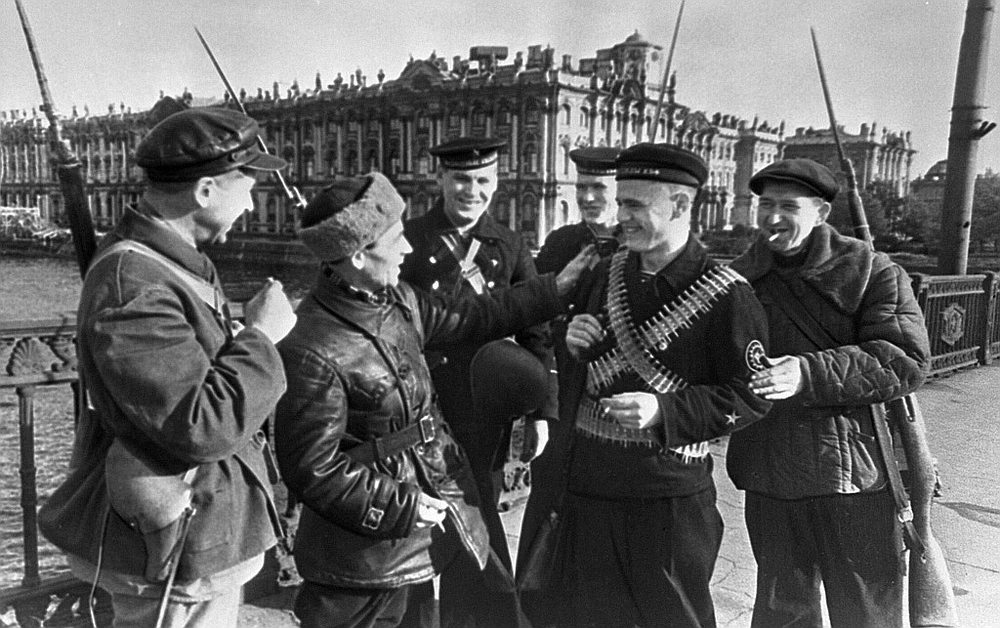 """Defenders of besieged Leningrad"". Workers of the Kirov plant and young sailors on the bridge. Defenders of Leningrad during the siege."