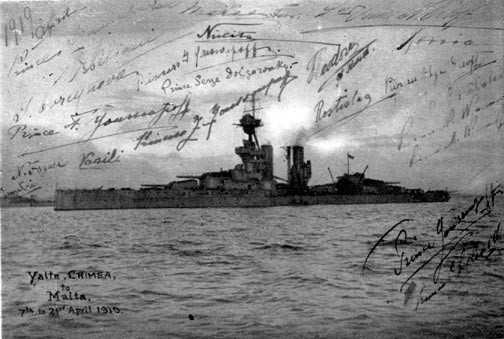 Photo-card of HMS Marlborough, autographed by the Imperial passengers