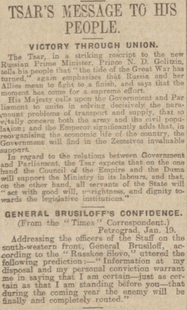 """Tsar's Message to His People."" Derby Daily Telegraph, 22 Jan. 1917, p. 4. British Library Newspapers, tinyurl.galegroup.com/tinyurl/4EEqm8. Accessed 17 Jan. 2017."