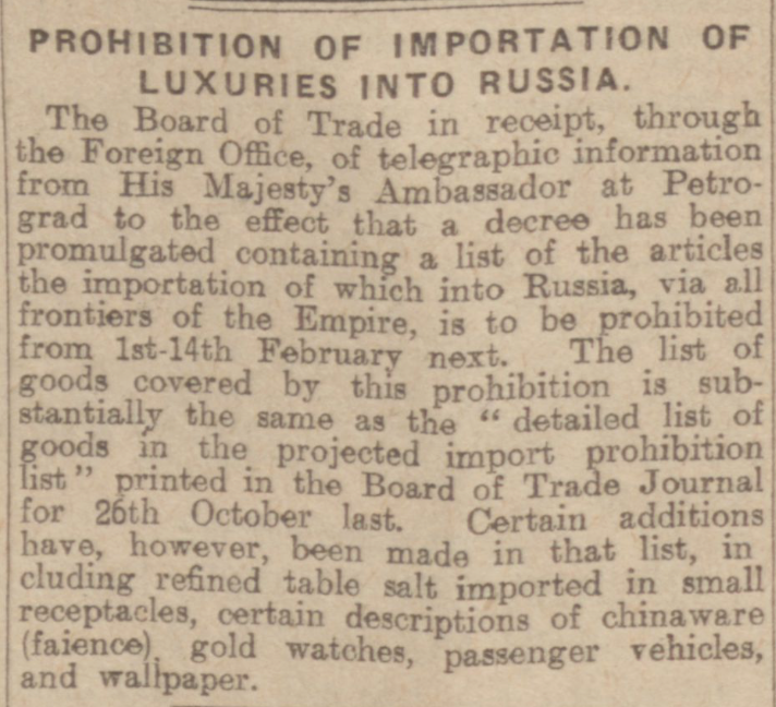 """Prohibition of Importation of Luxuries into Russia."" Dundee Courier, 1 Jan. 1917, p. 6. British Library Newspapers, tinyurl.galegroup.com/tinyurl/4EEbs6. Accessed 17 Jan. 2017."