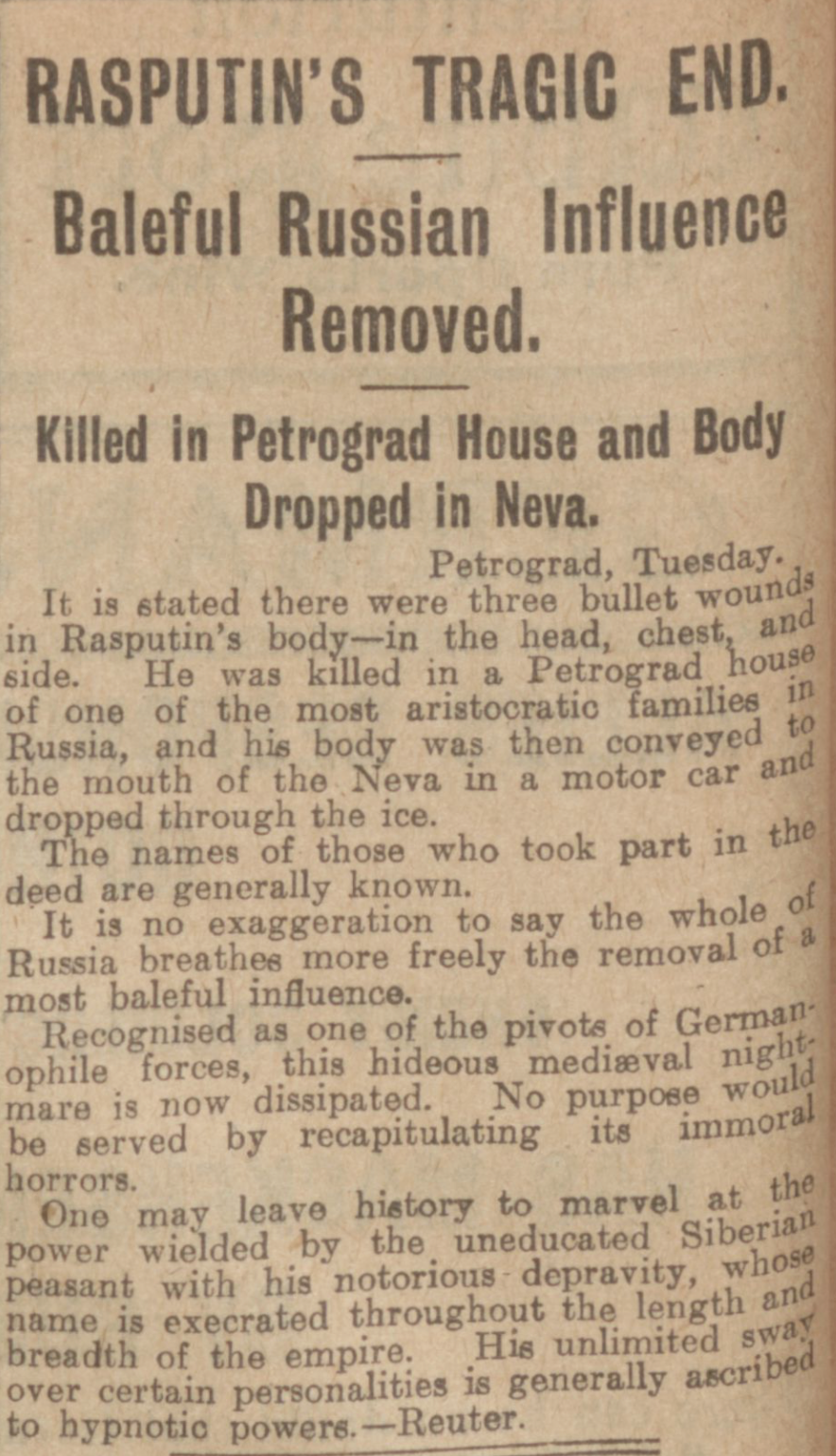 """Rasputin's Tragic End."" Evening Telegraph, 3 Jan. 1917, p. 2. British Library Newspapers, tinyurl.galegroup. com/tinyurl/4B33G2. Accessed 1 Jan. 2017."