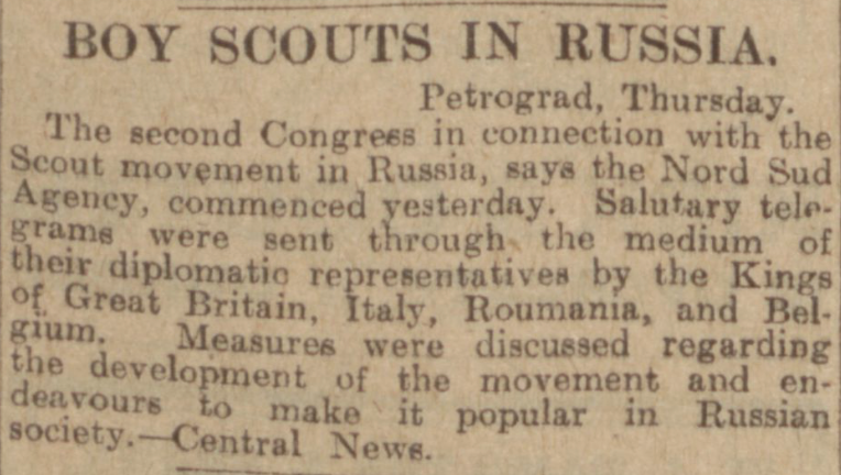 """Boy Scouts in Russia."" Evening Telegraph, 12 Jan. 1917, p. 3. British Library Newspapers, tinyurl.galegroup.com/tinyurl/4ECCW3. Accessed 17 Jan. 2017."