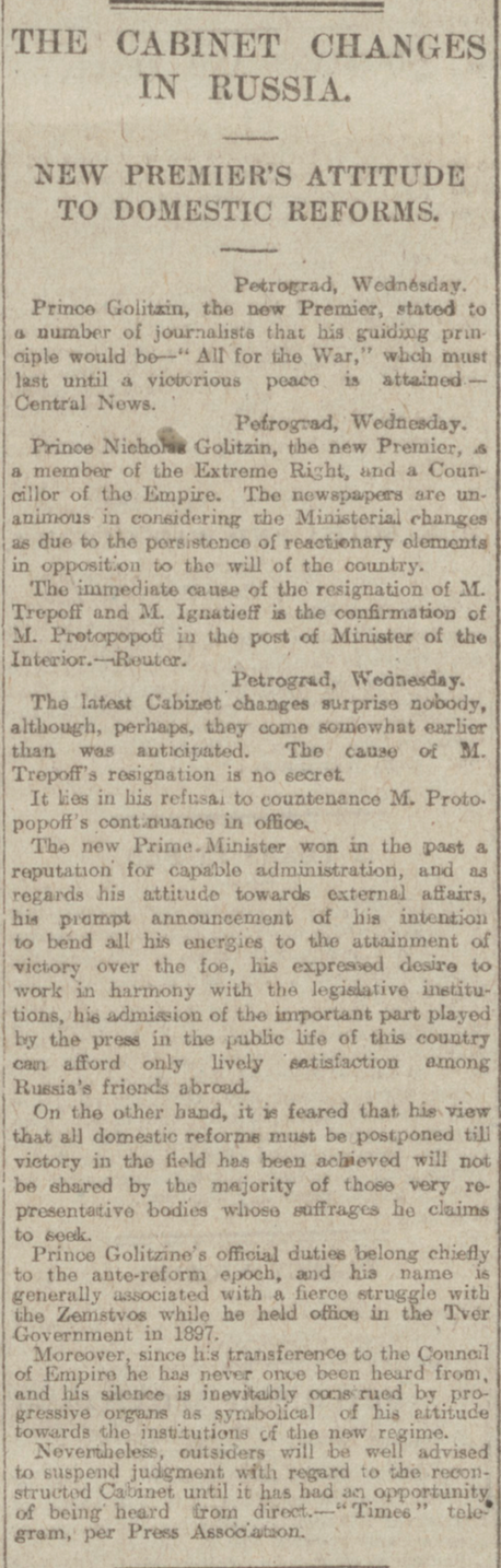 """The Cabinet Changes in Russia."" Aberdeen Journal, 12 Jan. 1917, p. 5. British Library Newspapers, tinyurl.galegroup.com/ tinyurl/4Doth8. Accessed 15 Jan. 2017"