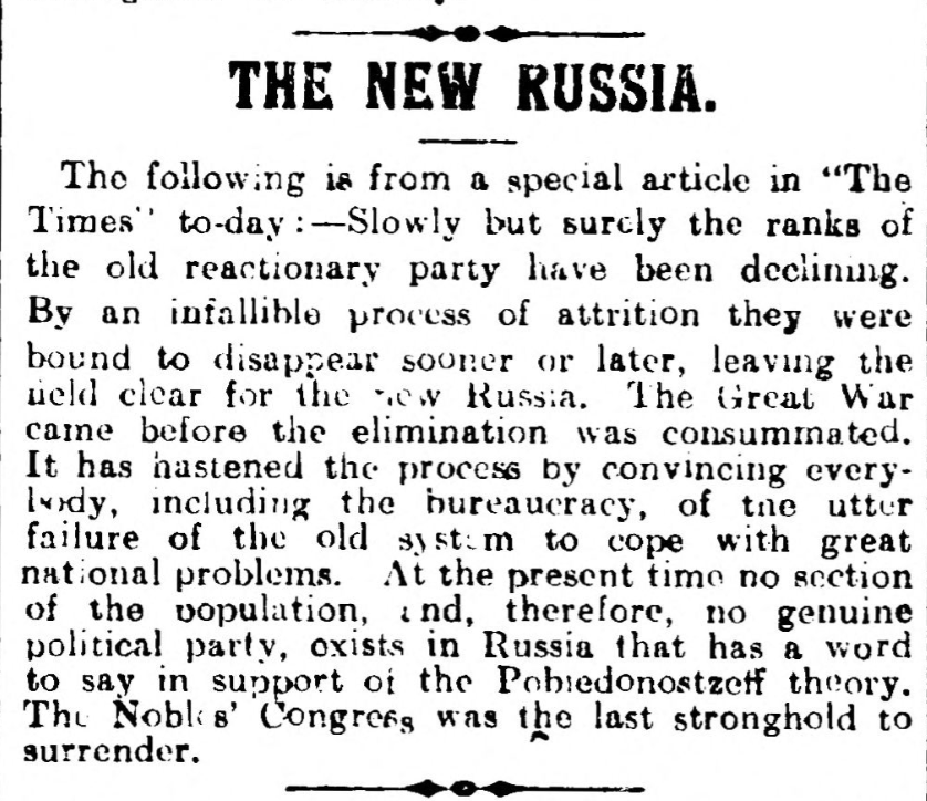 """The New Russia."" Hull Daily Mail, 8 Feb. 1917, p. 5. British Library Newspapers, tinyurl.galegroup.com/ tinyurl/4DuBeX. Accessed 15 Jan. 2017."