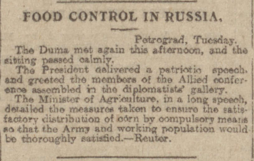 """Food Control in Russia."" Aberdeen Journal, 27 Feb 1917, p. 3. British Library Newspapers, tinyurl.galegroup.com/ tinyurl/4DuBC0. Accessed 15 Jan. 2017."
