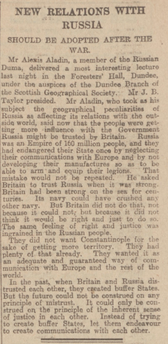 """New Relations with Russia."" Dundee Courier, 28 February 1917, p. 5. British Library Newspapers, tinyurl.galegroup.com/tinyurl/4DuA93. Accessed 15 Jan. 2017."