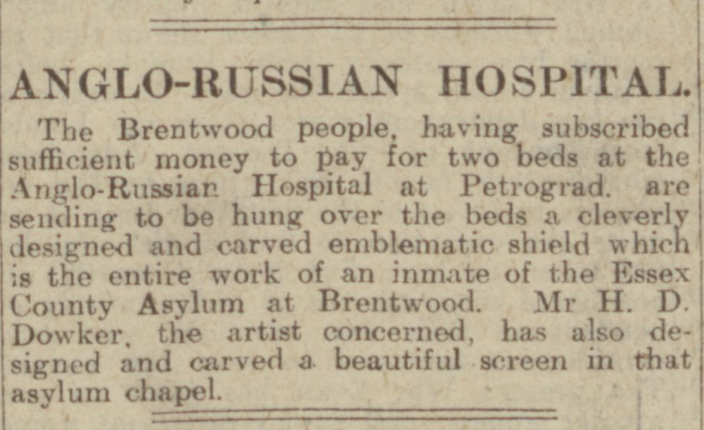 """Anglo-russian Hospital."" Evening Telegraph, 15 Feb. 1917, p. 1. British Library Newspapers, tinyurl. galegroup.com/tinyurl/4DuHc1. Accessed 15 Jan. 2017."