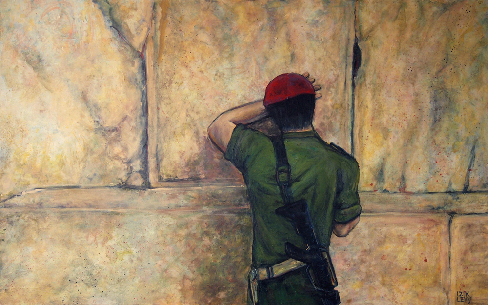 soldier praying at kotel commissioned large painting, acrylic on canvas