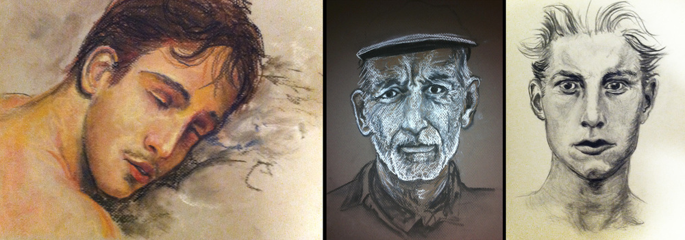 portrait drawings in pastel and charcoal
