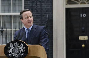 U.K. Prime Minister David Cameron delivers a speech outside 10 Downing Street.