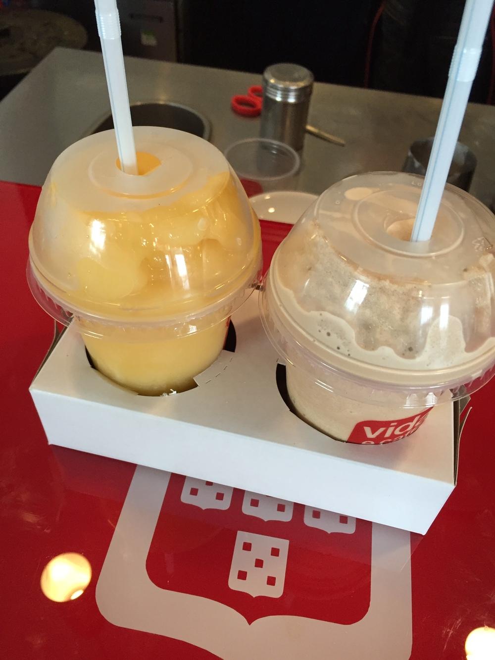Left to right: Mango frio and Chai frio
