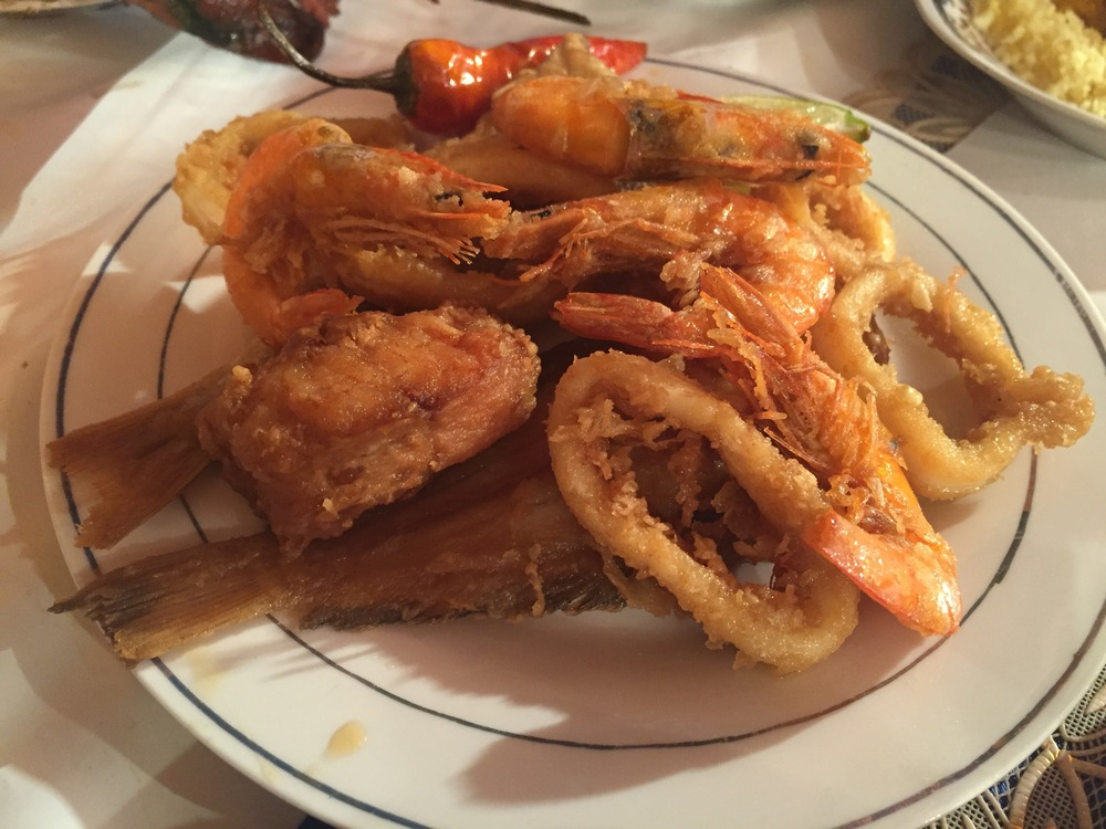 Battered shrimp, calamari and red fish, The Medina