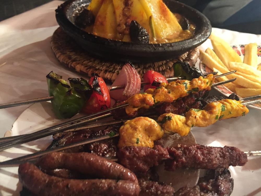 Chicken khebabs, sausage khebabs, beef khebabs, The Medina