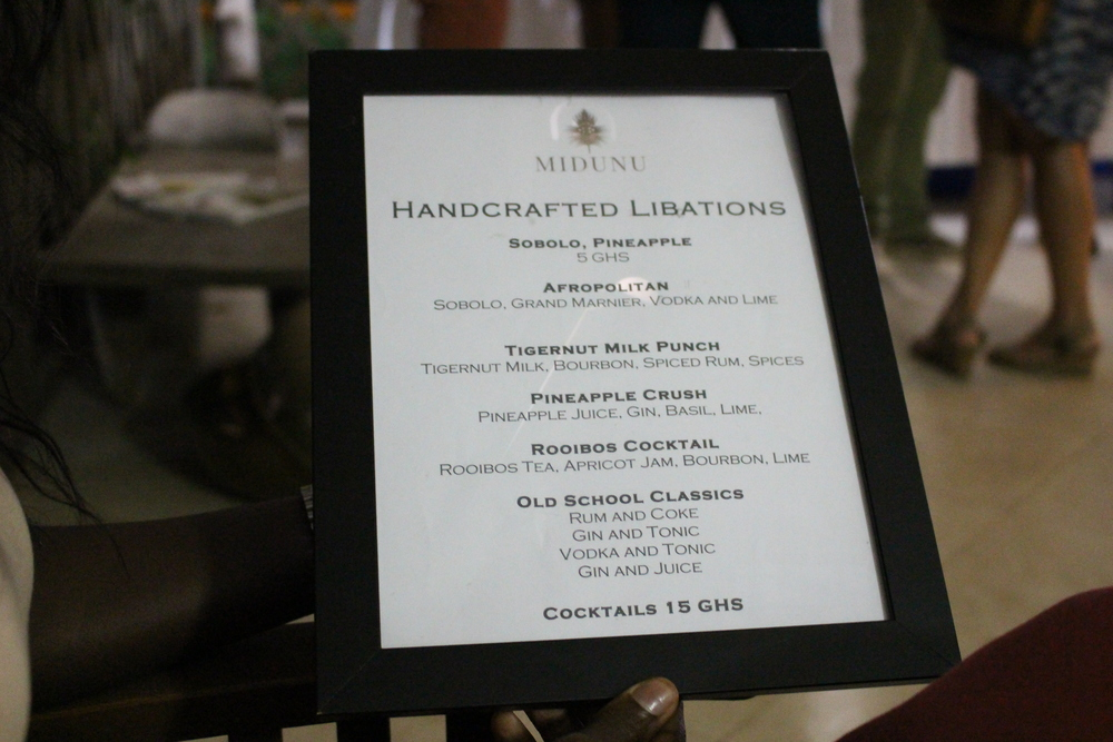 Midunu drink menu