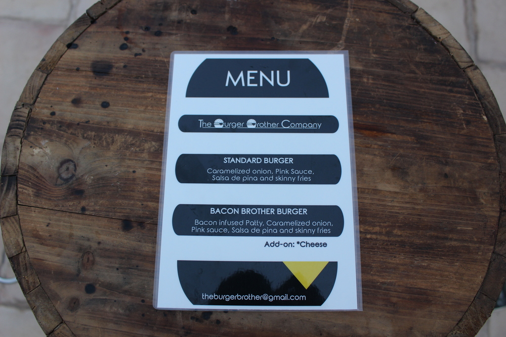 Burger Brother Launch Menu