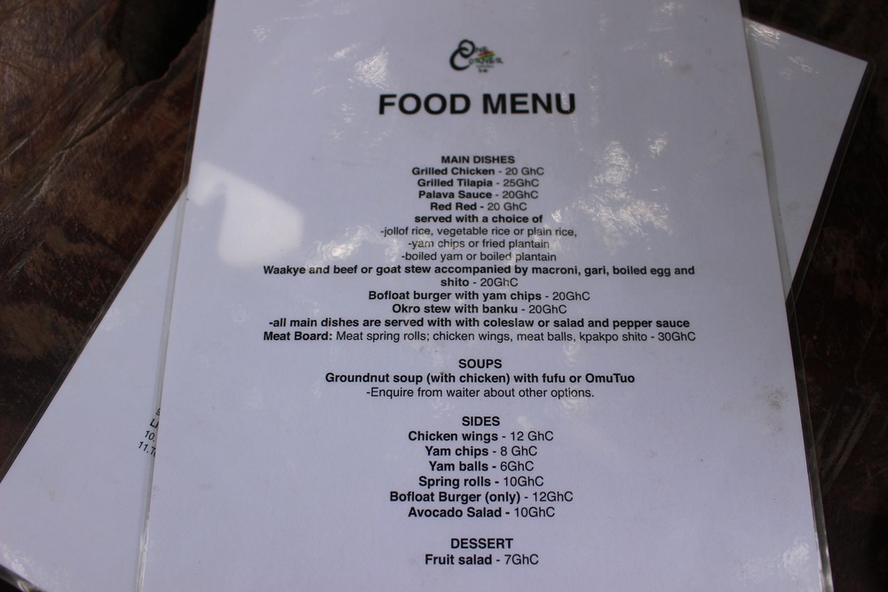 The Food Menu, One Corner