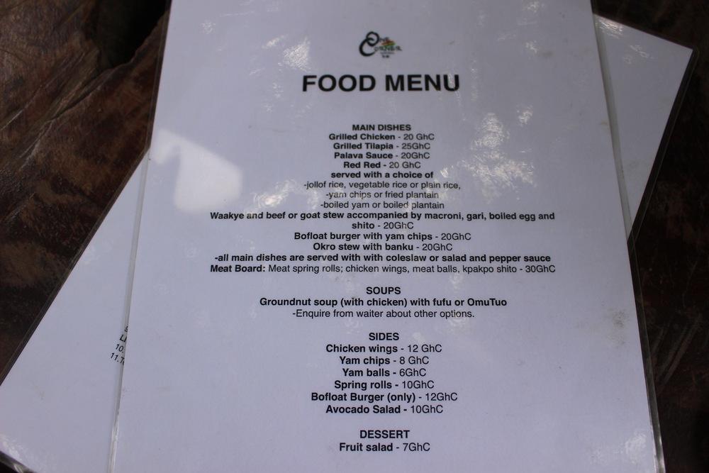 The Food Menu, One Corner