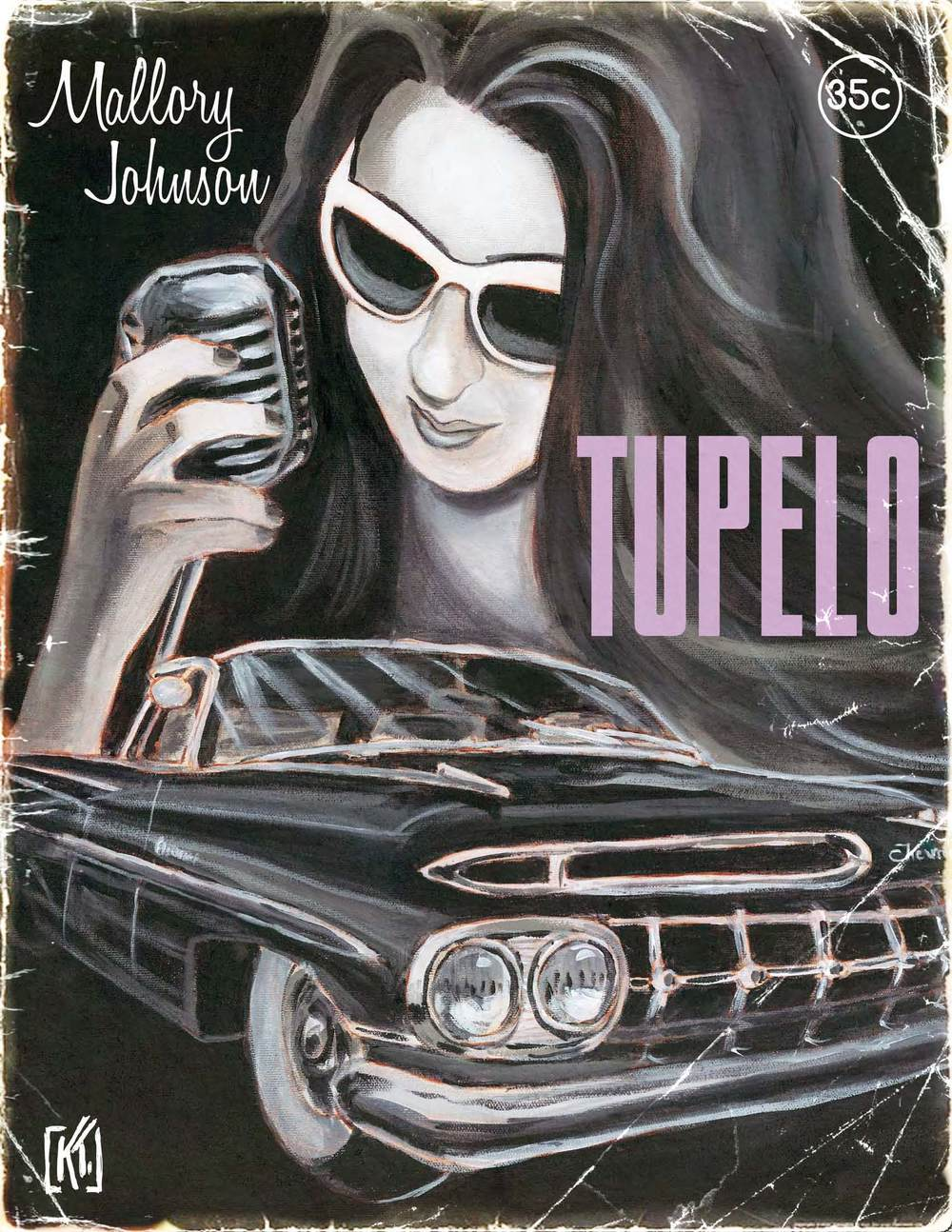 "Here is the the lovely illustration for ""Tupelo"" by Kevin Tobin. Kevin painted 1950's pulp fiction-themed portraits for each song on my new record !!"