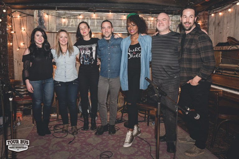 From the left: Mallory Johnson, Andrea England, Sarah MacDougall, Justin Rutledge, Jully Black, David Leask, Geoff Willingham. Photo by Mike Highfield (Tour Bus Entertainment)