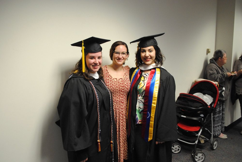 YR² Lab celebrates our graduating seniors! From left: Megan Lyons, Dr. Cassie Glenn, Barbara Dioguardi Lopez. Not pictured: Christie Otto.
