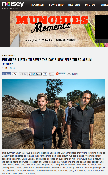 Saves The Day Noisey Premiere