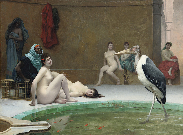 Jean-Léon Gérôme (1824-1904), La Marabout in the Harem Bath, retrieved from Flickr (link). No commercial use intended here.