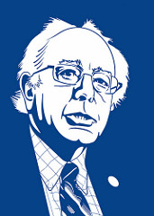 Caricature of Bernie Sanders, based on official Senate photo ( link ). No commercial use intended here.