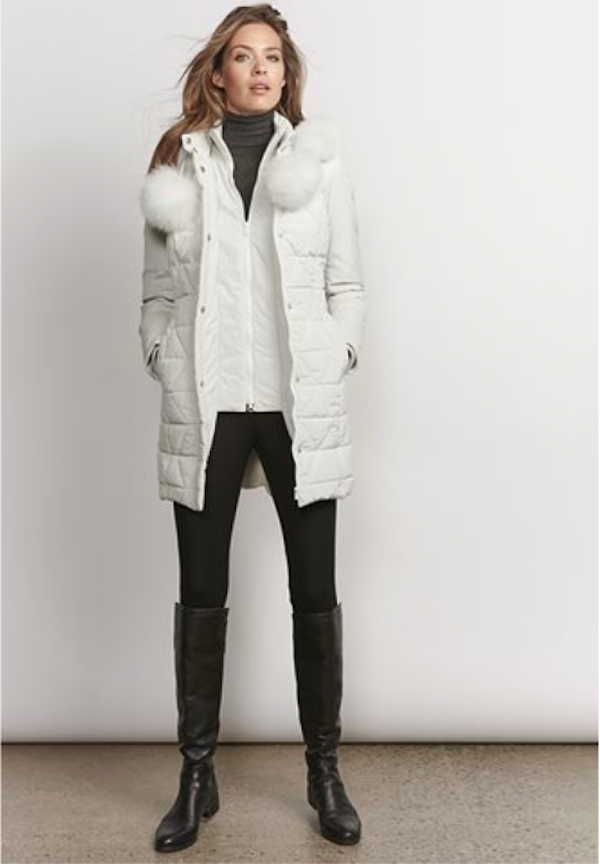 Victoria Fabric & Lamb Leather Parka, $399, Danier
