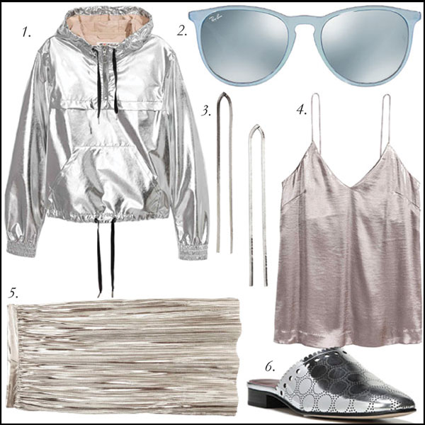 1.  Shimmering Metallic Jacket, $19.99, H&M  | 2.  Ray-Ban Erika Silver Sunglasses, $195, Sunglass Hut  | 3.  Silver Shimmer Earrings, $12.99, H&M  | 4.  Silver Tank, $19.99, H&M  | 5.  Pleated Skirt, $39.99, H&M  | 6.  DVF Metallic Mules, $295, Hudson's Bay .