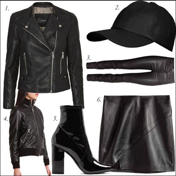 1.  Vero Moda Faux Leather Jacket, $99, Hudson's Bay  | 2.  Vegan Leather Ball Cap, $19.99, Jean Machine  | 3.  Leather Trousers, $249, H&M  | 4.  Women's Soho Leather Lake Jacket, $588, Roots  | 5.  Patent Block Heel Boots, $100, ALDO  | 6.  Leather Wrap Skirt, $69.99, H&M .