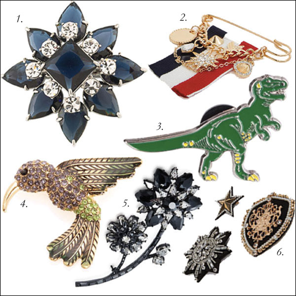 1.  Carolee Crystal Inset Brooch, $80, Hudson's Bay  | 2.  Embellished Military-Style Pin, $10, ALDO  | 3.  Dino Pin, $13, Hudson's Bay  | 4.  Jones New York Hummingbird Pin, $25, Hudson's Bay  | 5.  Kate Spade Trellis Blooms Large Brooch, $126, Hudson's Bay  | 6.  3-Pack of Embellished Pins, $25, ALDO .
