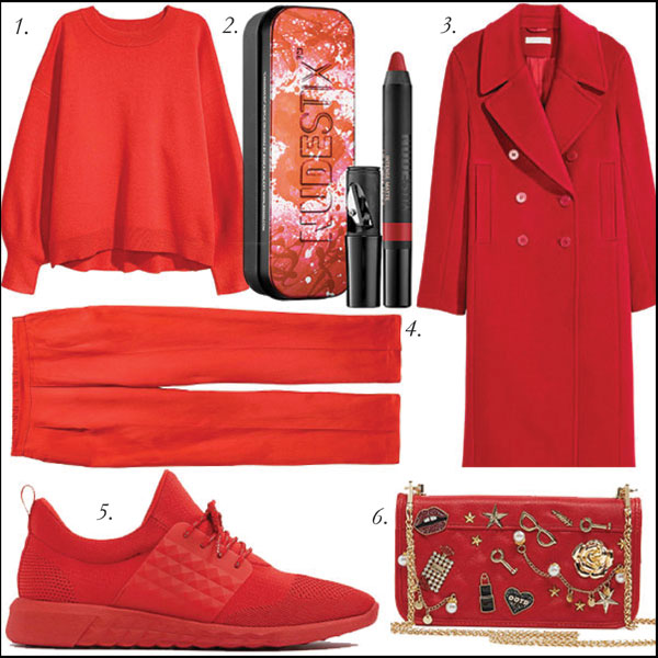 1.  Fine Knit Jumper, $49.99, H&M  | 2.  NUDESTIX Intense Matte Lip & Cheek Royal Red Custom Tin, $28, Sephora  | 3.  Wool Blend Coat, $149, H&M  | 4.  Pull-On Pants, $39.99, H&M  | 5.  Street Sneaker, $90, ALDO  | 6.  Embellished Crossbody, $48, ALDO .