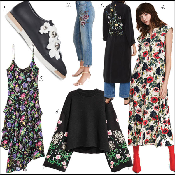 1.  MIISTA Blanche Floral Leather Oxfords, $99, Hudson's Bay  | 2.  High Rise Floral Jeans, $99, Garage  | 3.  TOPSHOP Floral Embroidered Duster Coat, $160, Hudson's Bay  | 4.  Floral Maxi Dress, $49.99, H&M  | 5.  Floral Dress, $69.99, H&M  | 6.  Embroidered Sweatshirt, $69.99, H&M