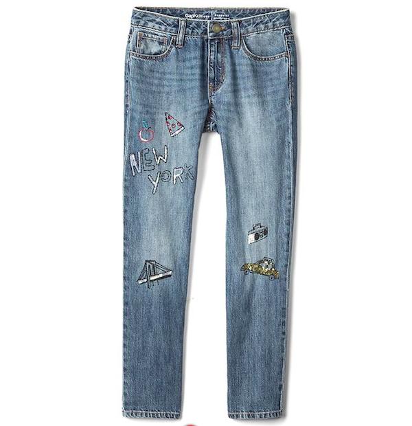 New York Patch Girlfriend Jeans, $32, GapKids