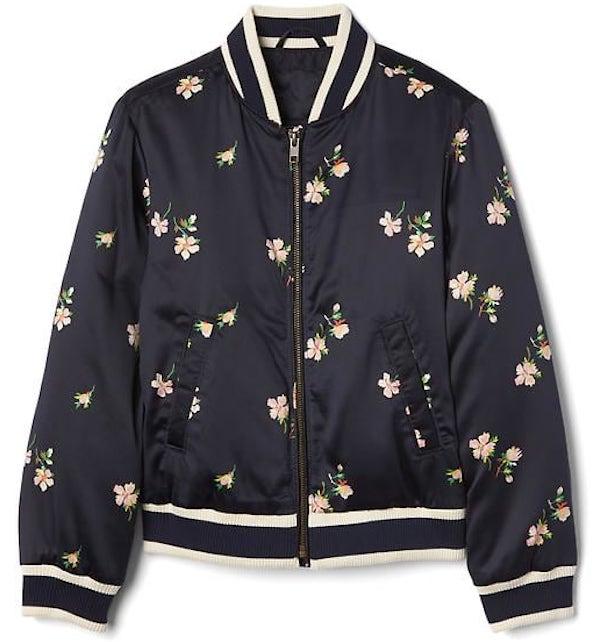 Floral Satin Varsity Jacket, $59.95, GapKids