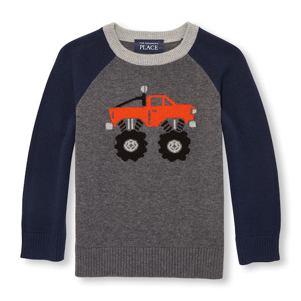 Toddler Intarsia Monster Truck Sweater, $18, The Children's Place