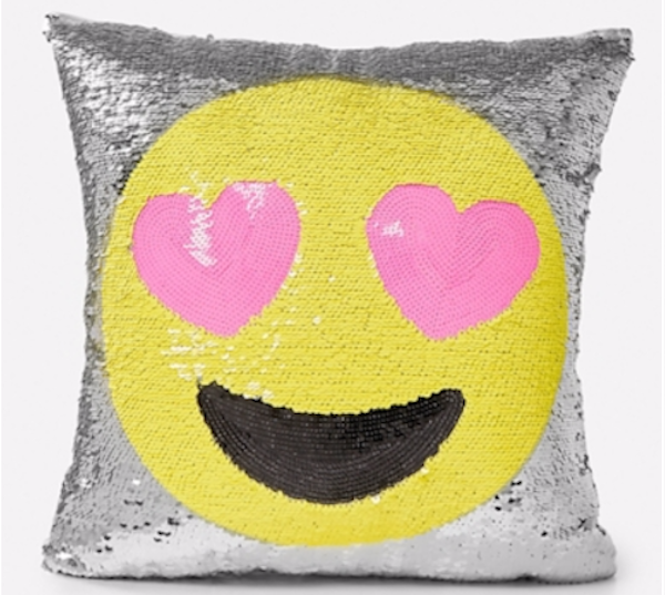 Our fave emoji in a flip sequin pillow = see above. via Justice.