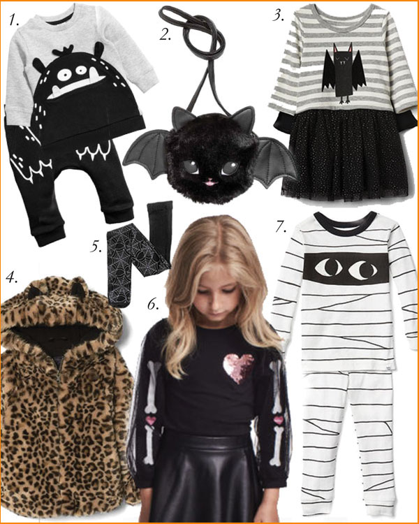 1. Monster Sweatshirt & Joggers Toddler Set, $24.99, H&M | 2. Fuzzy Bat Shoulder Bag, $17.99, H&M | 3. Bat Black Cape Dress, $34.99, GapKids | 4. Cheetah Faux Fur Jacket, $60.99, GapKids | 5. Cobweb Tights, $12.99, H&M | 6. Balloon Sleeve Jersey Top, $17.99, H&M | 7. Mummy Sleep Set, $21.99, GapKids
