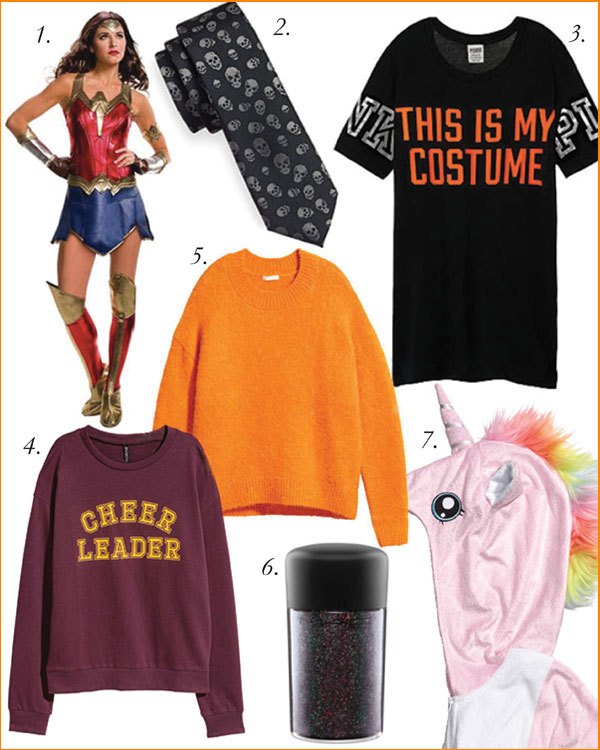 1. Justice League Wonder Woman Costume, $39.98, Walmart | 2. 1670 Slim Skull Tie, $9.99, Hudson's Bay | 3. This is My Costume Tee, VS PINK | 4. Cheerleader Crewneck Sweatshirt, $14.99, H&M | 5. Pumpkin Orange Wool Blend Sweater, $59.99. H&M | 6. M.A.C. Cosmetics 3D Glitter, $26, Hudson's Bay | 7. Unicorn Costume, $49.99, H&M.