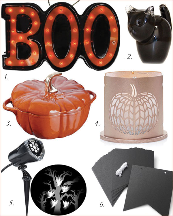 1. Marquee Light-Up Decoration, $37.98, Walmart | 2. Lucky Black Cat, $24.99, Green Earth | 3. Staub Pumpkin Cocotte, $279.99, Hudson's Bay | 4. Chevron Pumpkin Votive Holder, Yankee Candle | 5. Gemmy Industries Lightshow Projection, $27.98, Walmart | 6. Chalkboard Pennant Banner, $8.97, Walmart.