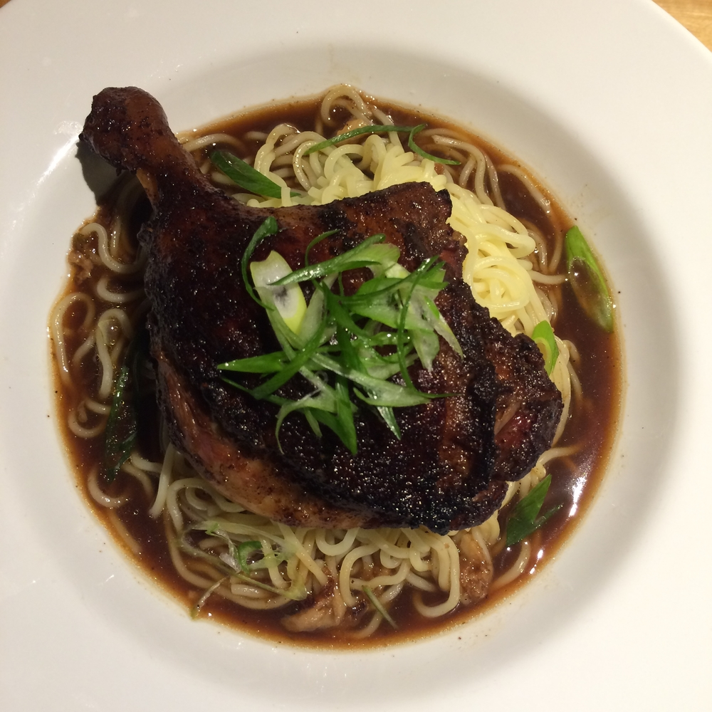 "Ginger braised duck leg with 5-spice and fresh Chinese egg noodles. Recipe from ""In The Charcuterie"""