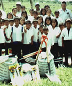 February 2001: School supplies distribution