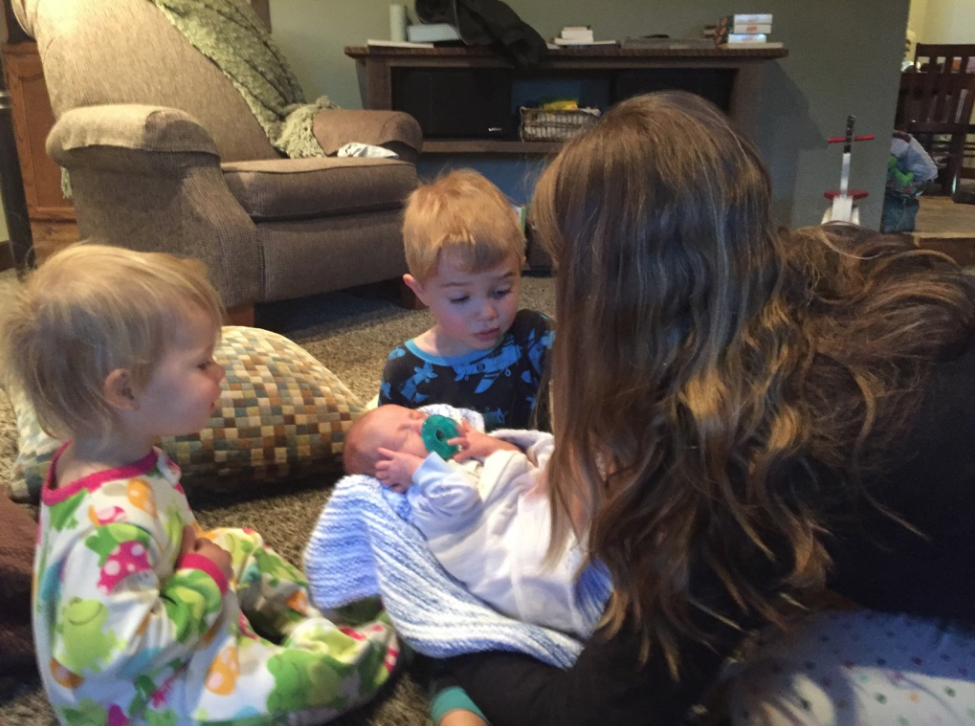 Introducing Charlie to his big brother & sister.